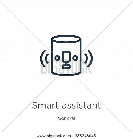 Smart Assistant Icon. Thin Linear Smart Assistant Outline Icon Isolated On White Background From Gen