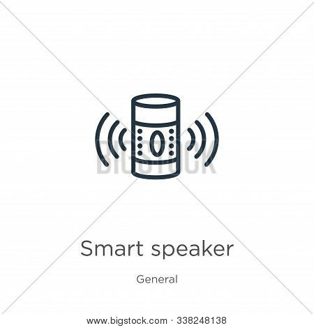 Smart Speaker Icon. Thin Linear Smart Speaker Outline Icon Isolated On White Background From General