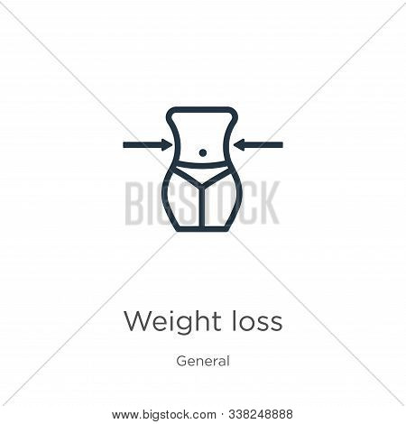 Weight Loss Icon. Thin Linear Weight Loss Outline Icon Isolated On White Background From General Col