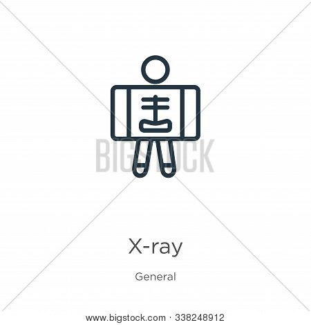 X-ray Icon. Thin Linear X-ray Outline Icon Isolated On White Background From General Collection. Lin