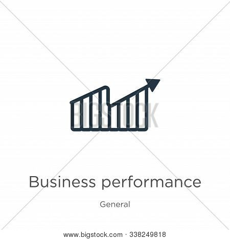 Business Performance Icon. Thin Linear Business Performance Outline Icon Isolated On White Backgroun