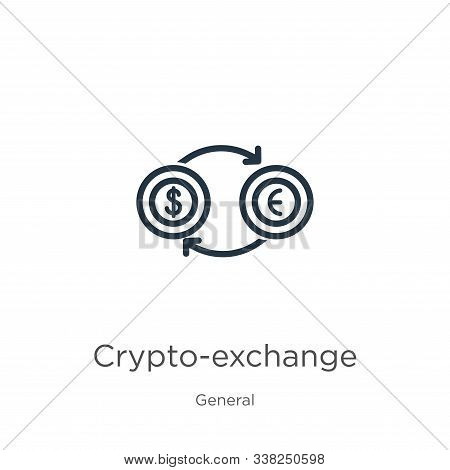 Crypto-exchange Icon. Thin Linear Crypto-exchange Outline Icon Isolated On White Background From Gen
