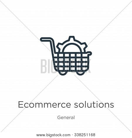 Ecommerce Solutions Icon. Thin Linear Ecommerce Solutions Outline Icon Isolated On White Background