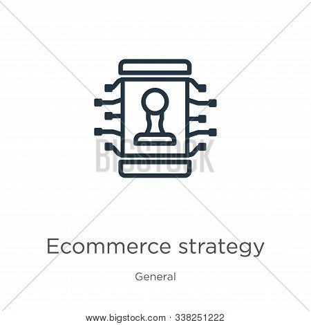 Ecommerce Strategy Icon. Thin Linear Ecommerce Strategy Outline Icon Isolated On White Background Fr