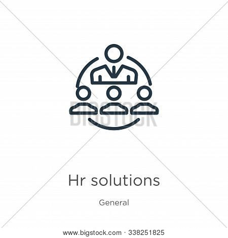 Hr Solutions Icon. Thin Linear Hr Solutions Outline Icon Isolated On White Background From General C