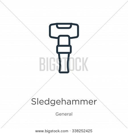Sledgehammer Icon. Thin Linear Sledgehammer Outline Icon Isolated On White Background From General C