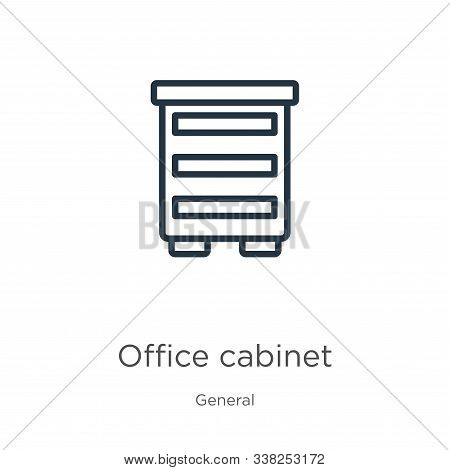 Office Cabinet Icon. Thin Linear Office Cabinet Outline Icon Isolated On White Background From Gener