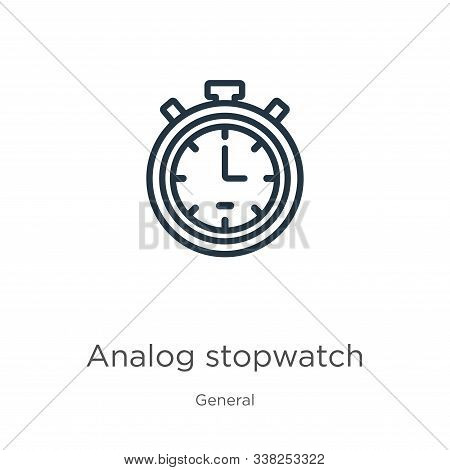 Analog Stopwatch Icon. Thin Linear Analog Stopwatch Outline Icon Isolated On White Background From G