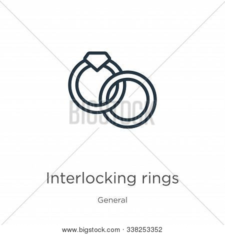 Interlocking Rings Icon. Thin Linear Interlocking Rings Outline Icon Isolated On White Background Fr