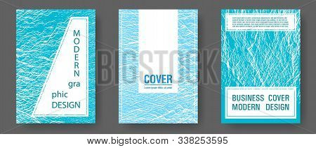 Brochure Layout Design Templates. Blue Sea Water Waves Texture Backdrops. Corporate Finance Book Cov