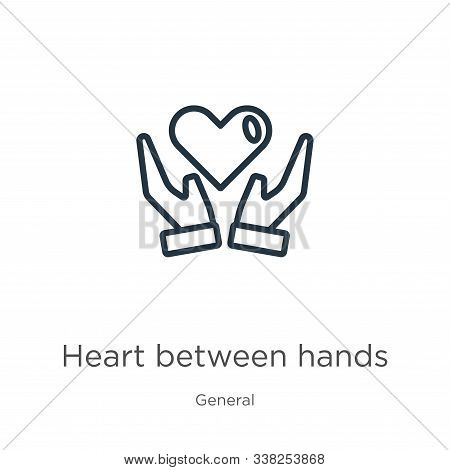 Heart Between Hands Icon. Thin Linear Heart Between Hands Outline Icon Isolated On White Background