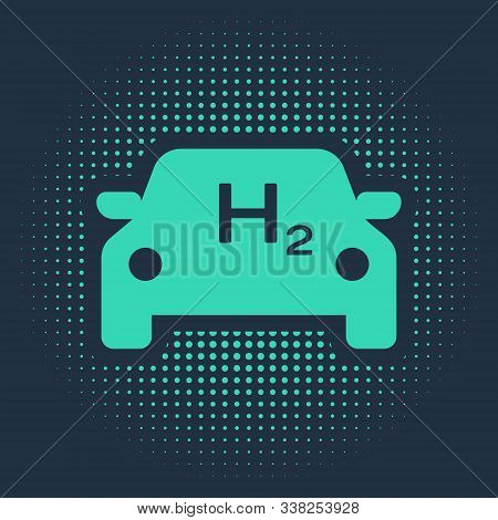 Green Hydrogen Car Icon Isolated On Blue Background. H2 Station Sign. Hydrogen Fuel Cell Car Eco Env