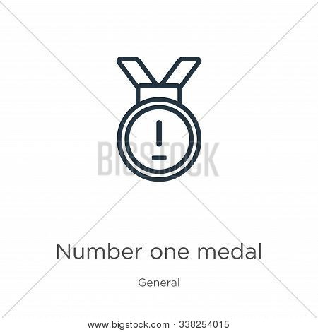 Number One Medal Icon. Thin Linear Number One Medal Outline Icon Isolated On White Background From G