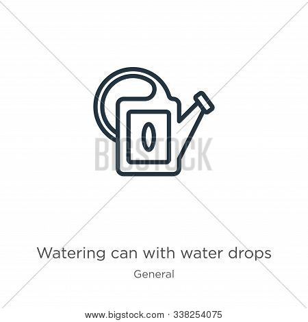 Watering Can With Water Drops Icon. Thin Linear Watering Can With Water Drops Outline Icon Isolated