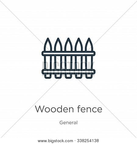 Wooden Fence Icon. Thin Linear Wooden Fence Outline Icon Isolated On White Background From General C