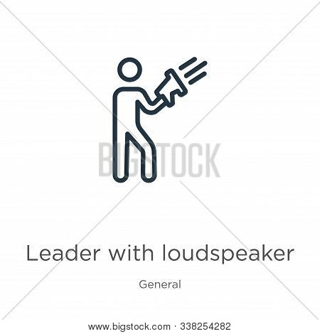Leader With Loudspeaker Icon. Thin Linear Leader With Loudspeaker Outline Icon Isolated On White Bac