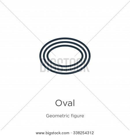 Oval Icon. Thin Linear Oval Outline Icon Isolated On White Background From Geometric Figure Collecti