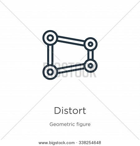 Distort Icon. Thin Linear Distort Outline Icon Isolated On White Background From Geometric Figure Co