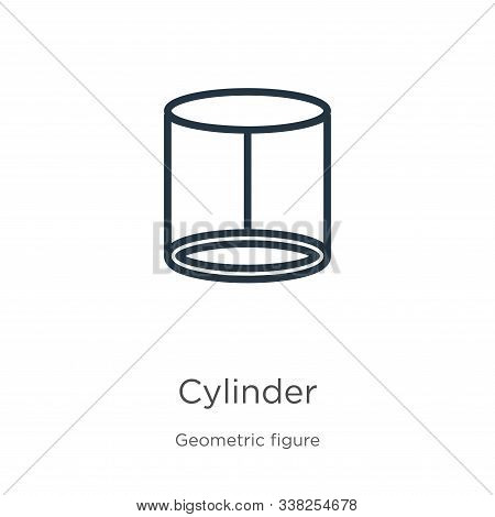 Cylinder Icon. Thin Linear Cylinder Outline Icon Isolated On White Background From Geometric Figure