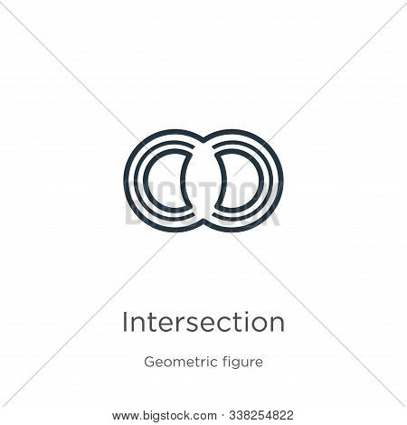 Intersection Icon. Thin Linear Intersection Outline Icon Isolated On White Background From Geometric