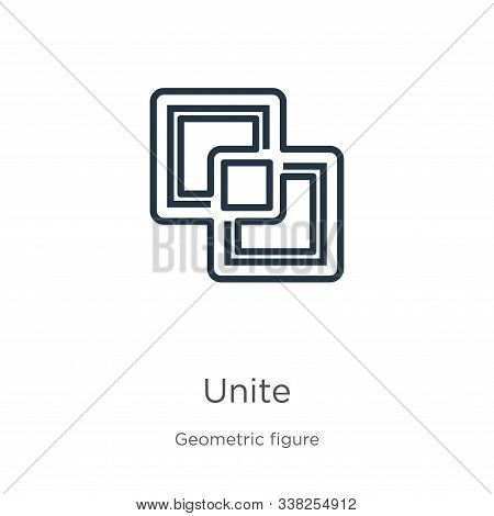 Unite Icon. Thin Linear Unite Outline Icon Isolated On White Background From Geometric Figure Collec