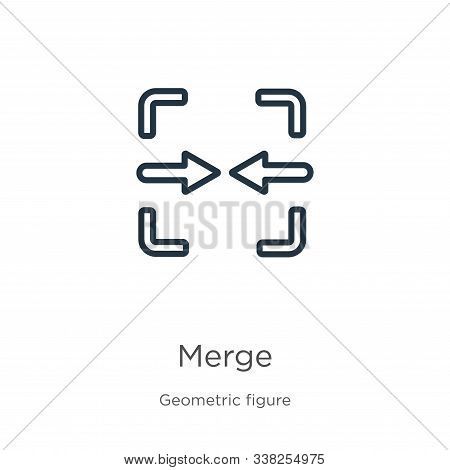 Merge Icon. Thin Linear Merge Outline Icon Isolated On White Background From Geometric Figure Collec