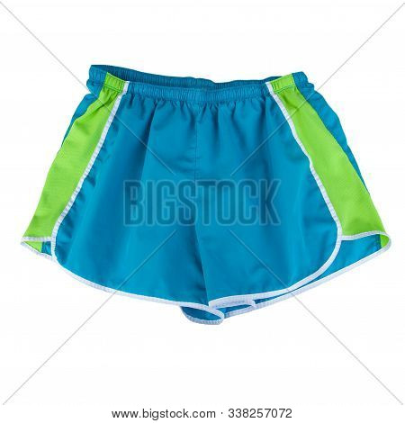 Blue And Green Sports Shorts Isolated On A White Background.  Summer Casual Fashion Clothing Has A G