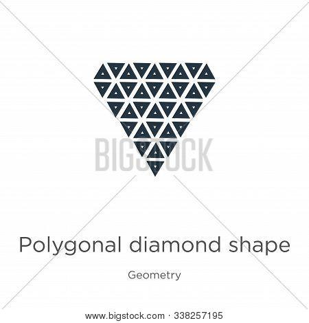 Polygonal Diamond Shape Of Small Triangles Icon. Thin Linear Polygonal Diamond Shape Of Small Triang