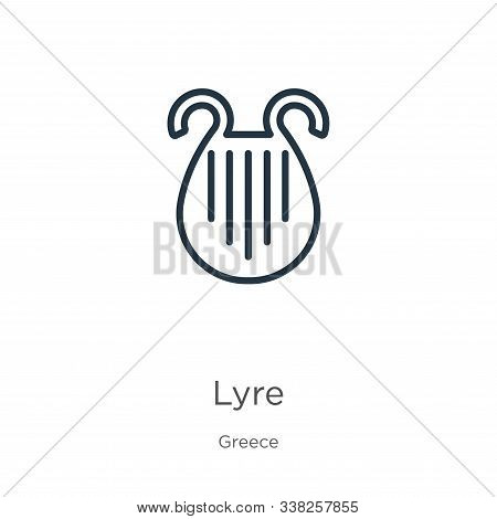 Lyre Icon. Thin Linear Lyre Outline Icon Isolated On White Background From Greece Collection. Line V