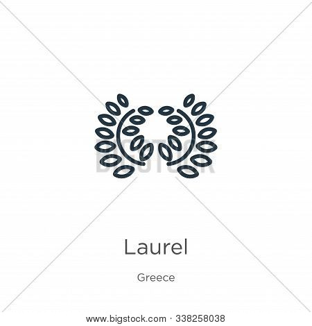 Laurel Icon. Thin Linear Laurel Outline Icon Isolated On White Background From Greece Collection. Li