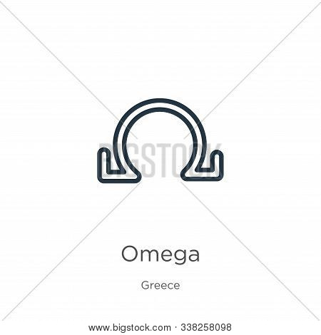Omega Icon. Thin Linear Omega Outline Icon Isolated On White Background From Greece Collection. Line
