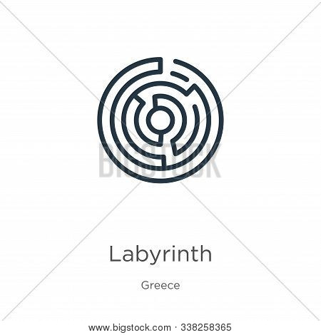Labyrinth Icon. Thin Linear Labyrinth Outline Icon Isolated On White Background From Greece Collecti