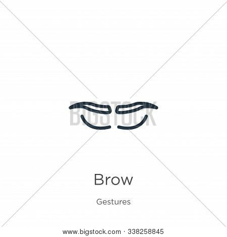 Brow Icon. Thin Linear Brow Outline Icon Isolated On White Background From Gestures Collection. Line