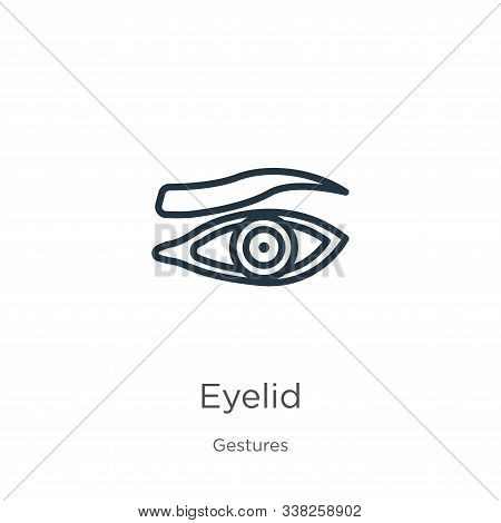 Eyelid Icon. Thin Linear Eyelid Outline Icon Isolated On White Background From Gestures Collection.