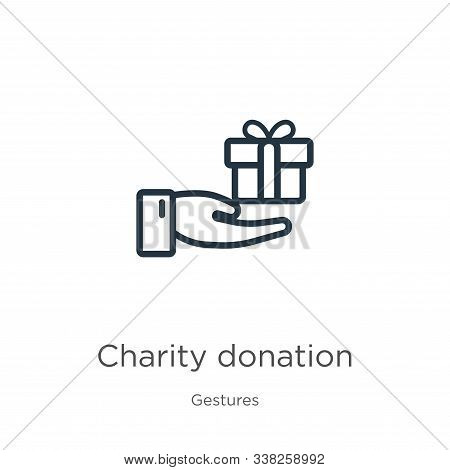 Charity Donation Icon. Thin Linear Charity Donation Outline Icon Isolated On White Background From G