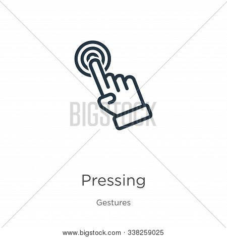 Pressing Icon. Thin Linear Pressing Outline Icon Isolated On White Background From Gestures Collecti