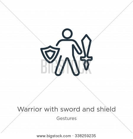Warrior With Sword And Shield Icon. Thin Linear Warrior With Sword And Shield Outline Icon Isolated