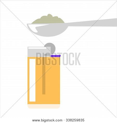 Heroin Narcotic In A Spoon Vector Isolated. Drug Addiction