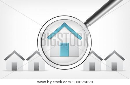 Find Home Concept. Grey Gradient Background. Vector EPS 10.
