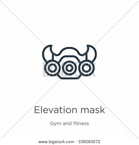 Elevation Mask Icon. Thin Linear Elevation Mask Outline Icon Isolated On White Background From Gym A