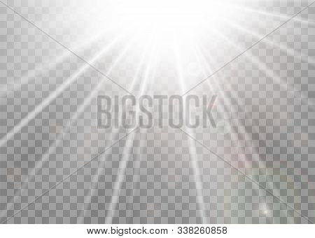 Light Ray Flare Isolated Transparent Background. Shine Bright Sun Burst Effect. Glow Explosion Flash