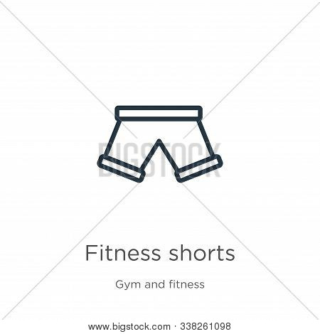 Fitness Shorts Icon. Thin Linear Fitness Shorts Outline Icon Isolated On White Background From Gym A