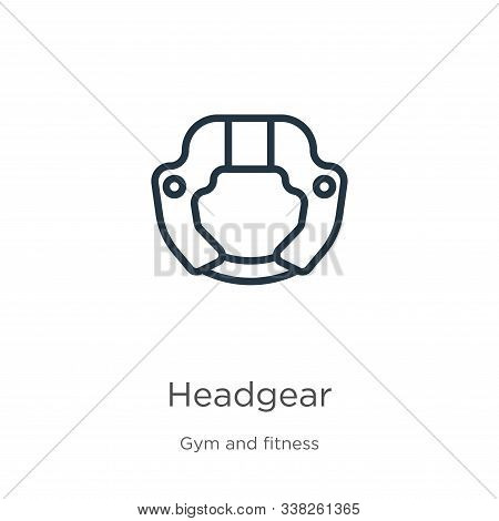 Headgear Icon. Thin Linear Headgear Outline Icon Isolated On White Background From Gym And Fitness C