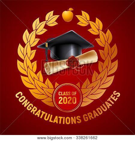 Congratulations Graduates Class Of 2020. Emblem With Congratulatory Text, Graduation Cap With Tassel