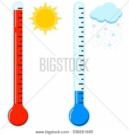 Hot And Cold Thermometer Icon Set. Hot Sunny And Cold Snowy Weather Concept. Glass Thermometer Signs