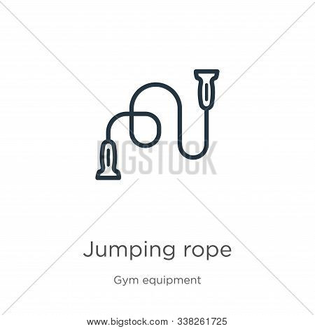 Jumping Rope Icon. Thin Linear Jumping Rope Outline Icon Isolated On White Background From Gym Equip