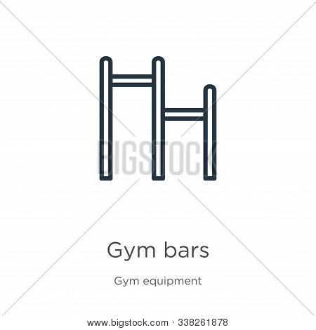 Gym Bars Icon. Thin Linear Gym Bars Outline Icon Isolated On White Background From Gym Equipment Col