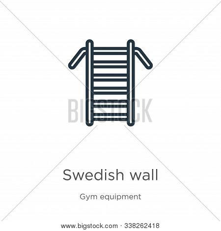 Swedish Wall Icon. Thin Linear Swedish Wall Outline Icon Isolated On White Background From Gym And F