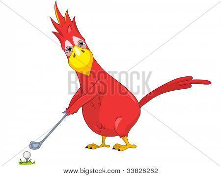 Cartoon Character Funny Parrot Isolated on White Background. Golf. Vector EPS 10.