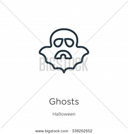 Ghosts Icon. Thin Linear Ghosts Outline Icon Isolated On White Background From Halloween Collection.